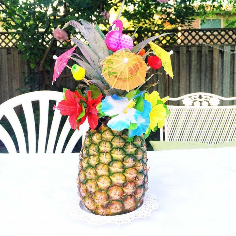 Pineapple centrepiece - tropical garden party | Teacups & Things