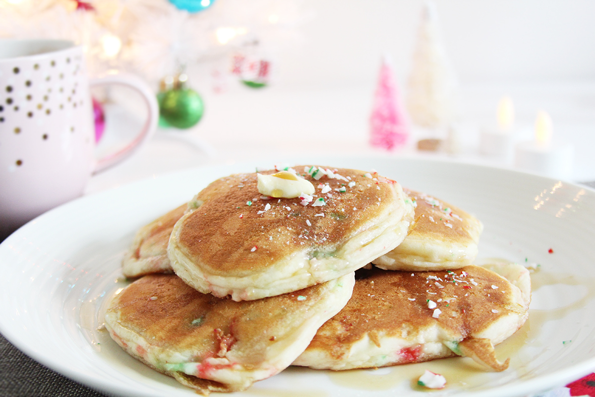 Recipe: Gluten-Free Candy Cane Pancakes via Tecaups and Things