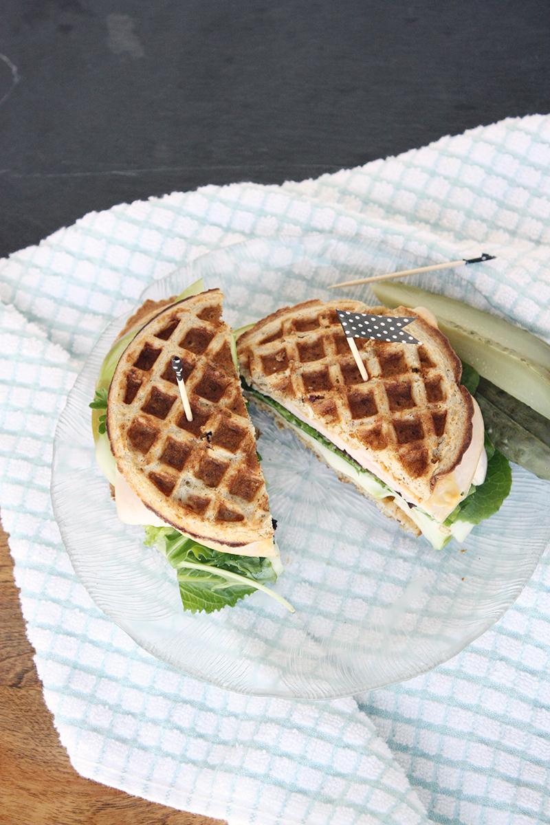 Gluten-free apple & brie turkey waffle sandwich from Teacups & Things.