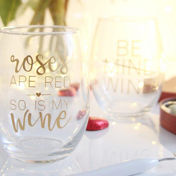 DIY Valentine's wine glasses with the Cricut Maker