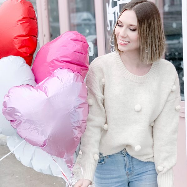 Be mine: cozy pom-pom feminine sweater for Valentine's Day