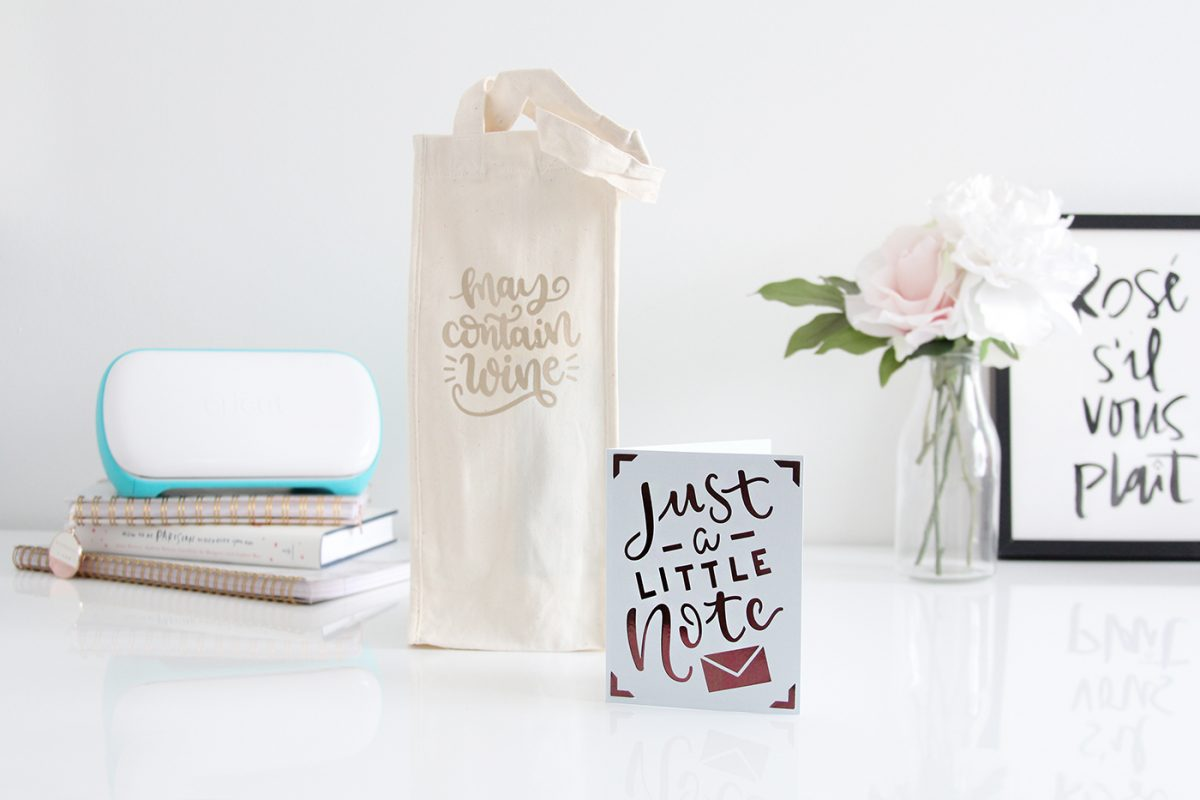 Everything you need to know about Cricut Joy + a DIY hostess gift (wine tote and card)