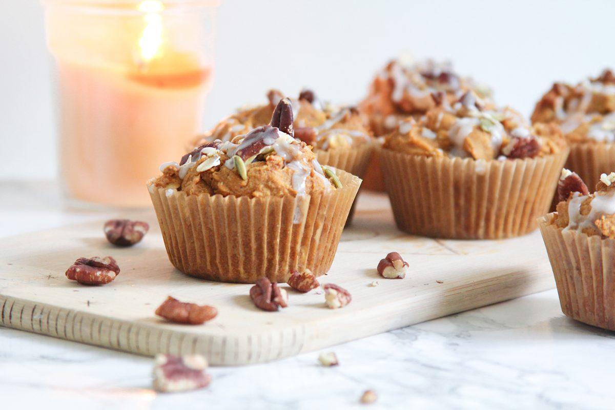 Recipe: Gluten free pumpkin pecan oat muffins