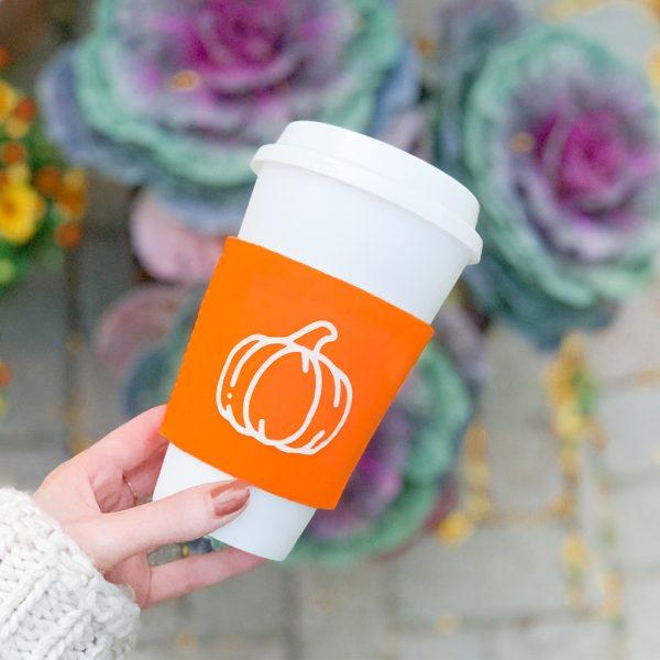 Easy DIY pumpkin cup-sleeve for fall